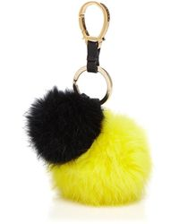 Etienne Aigner - Rabbit Fur Pom Pom Handbag Charm - Lyst