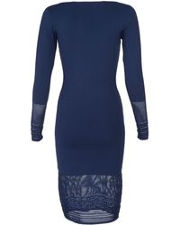 Zac Posen Long Sleeve Pointelle Mini Dress blue - Lyst