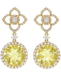 Kiki Mcdonough Signature Lemon Quartz & Diamond Drop Earrings 1Fs1Zh971a
