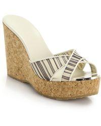 Jimmy Choo Perfume Striped Cork Wedge Mule Sandals white - Lyst