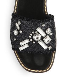 Creatures of the Wind - Reeve Crystal-embellished Raffia Sandals - Lyst