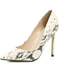 River Island Cream Leather Snake Print Court Shoes gray - Lyst