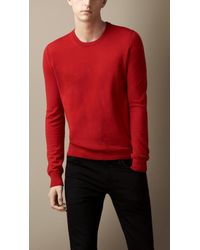 Burberry Check Elbow Patch Crew Neck Sweater - Lyst