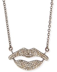 Siena Jewelry - Pavé Diamond Lips Pendant Necklace - Lyst