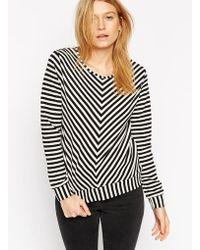 Asos Sweatshirt In Texture And Stripe - Lyst