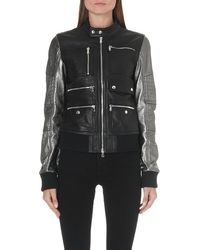 Diesel Larty Leather Jacket Silver Treated - Lyst