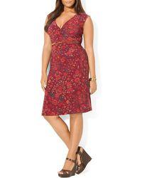 Ralph Lauren Lauren Plus Faux Wrap Dress - Lyst