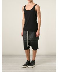 DRKSHDW by Rick Owens Coated Drop-Crotch Skirt-Track Shorts - Lyst