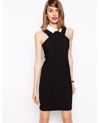 Asos Pencil Dress with Contrast Collar - Lyst