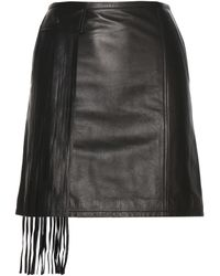 Tamara Mellon   Fringe-embellished Leather Skirt   Lyst