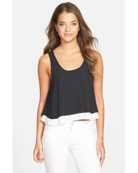 Sam Edelman Black & White Layered Tank black - Lyst