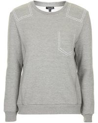 Topshop Contrast Stitch Sweat - Lyst
