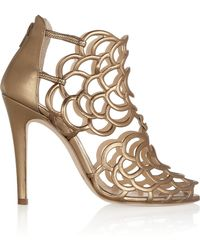 Oscar de la Renta Gladia Metallic Leather Sandals - Lyst