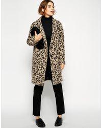 Asos Coat In Hairy Animal Print - Lyst