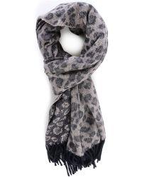 Acne | Grey Canada Leopard Wool Scarf | Lyst