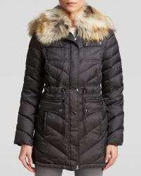 Laundry by Shelli Segal - Coat - Chevron With Faux Fur Trim Hood - Lyst