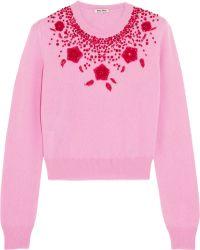 Miu Miu Embellished Cashmere Sweater - Lyst