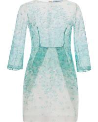 Blumarine Green Petal Print Organza Dress - Lyst
