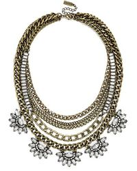 BaubleBar 'Sundial' Chain Bib Necklace - Clear/Gold - Lyst