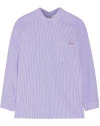 Steve J & Yoni P - - Oversized Striped Cotton-poplin Shirt - Blue - Lyst