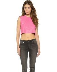 Love Leather - Candy Crop Top - Neon Pink - Lyst