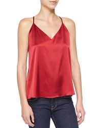 Alice + Olivia Double-strap Satin Flowy Top - Lyst
