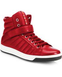 Prada Nappa Leather High-Top Sneakers - Lyst