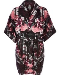 River Island Red Floral Print Silky Robe - Lyst