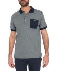 Lacoste Navy Cotton-Jersey Pocket Ss Polo Shirt - Lyst