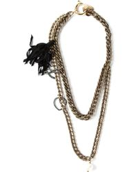 Lanvin Double Chain Opera Necklace - Lyst
