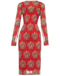 Dolce & Gabbana Sacred Heart Stretch-Chiffon Dress - Lyst