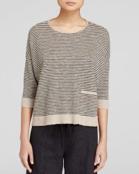 Eileen Fisher Black Striped Pullover - Lyst