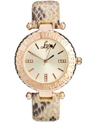 Lipsy | Nude Snake Strap Watch Wiith Cream Dial | Lyst