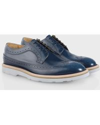 Paul Smith Navy Brush-Off Leather 'Grand' Brogues With Light Grey Sole - Lyst
