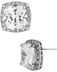 Betsey Johnson Square Silver Tone and Cubic Zirconia Stud Earrings - Lyst