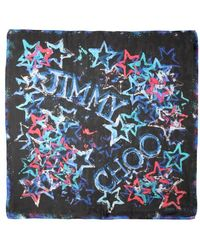 Jimmy Choo Black And Blue Silk 'Foulard' Star Print Scarf - Lyst
