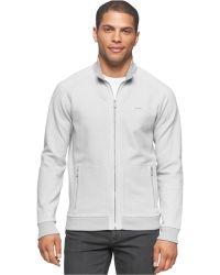 Calvin Klein   Long Sleeve Full Zip Sweatshirt   Lyst