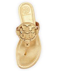 Tory Burch Miller Metallic Logo Thong Sandal - Lyst
