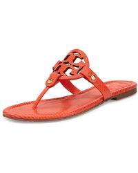 Tory Burch Miller Lizard-Print Logo Thong Sandal - Lyst