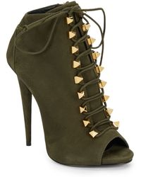 Giuseppe Zanotti Lace-Up Peep-Toe Suede Ankle Boots - Lyst