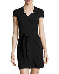 Cynthia Steffe Lace-Belt Wrap Dress black - Lyst