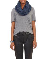 Barneys New York Blue Net-Knit Cowl - Lyst