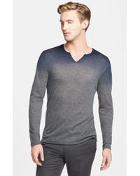 John Varvatos Extra Trim Fit Split Neck Ombre Cashmere Sweater - Lyst