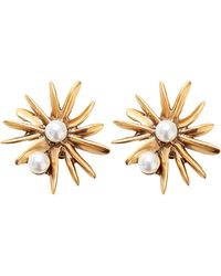 Oscar de la Renta Starburst Button Clip Earrings - Lyst