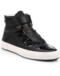 Bally Mixed Media High-Top Sneakers - Lyst