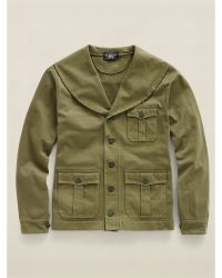 Ralph Lauren Cotton Military Shawl Cardigan - Lyst