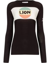 Bella Freud Black Cotton Lion Stripe Jumper - Lyst