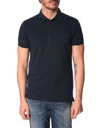 Diesel Basileus Navy Denim Collar Polo Shirt blue - Lyst
