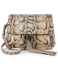 Gucci Bamboo Daily Python Flap Shoulder Bag - Lyst