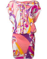 Emilio Pucci Floral And Geometric Print Dress - Lyst
